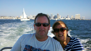 Couple enjoying a San Diego Bay Cruise