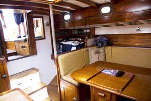 Interior dinette area of Jada yacht