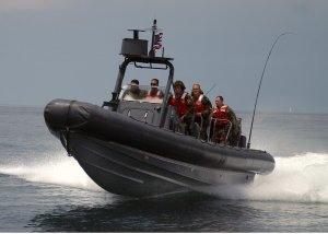 Rigid Inflatable Boat in ocean