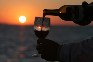 wine cruise at sunset