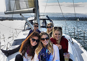 guests on bow of Marinella yacht