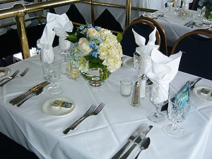 Adventure Hornblower dinner cruise table setting