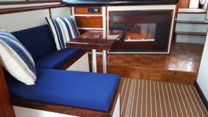 fireplace on Bella Luna private yacht